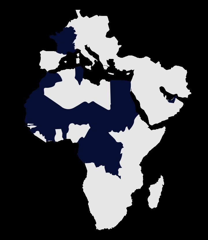 Carte implantation Al Mada en Afrique